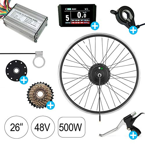 "bmc-world.com E-Bike Umbausatz 48V 500W 26\"" Hinterrad Nabenmotor Pedelec Motor Umrüstungs-Kit (Premium (inkl. 48V 500W Controller, PAS V12L, KT-LCD 8H Display, Daumengas, 2X Bremsgriff, Box))"