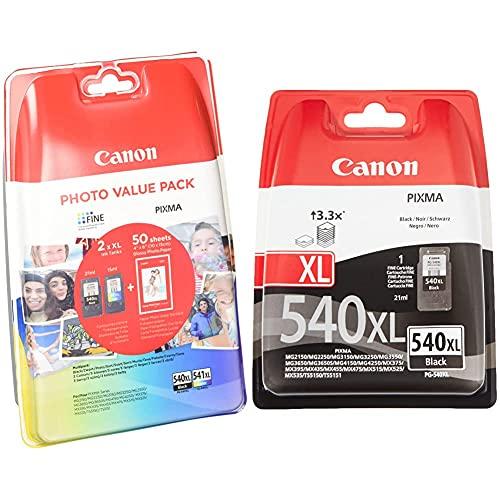 Canon PG-540XL + CL-541XL Tinta Original BK XL + Tricolor XL Impresora Inyeccion Tinta Pixma + PG-540XL Cartucho Tinta Original Negro XL para Impresora Inyeccion Tinta Pixma