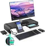 Support pour moniteur avec hub, Jelly Peb réglable avec ports USB 3.0 et port de type C, support de bureau pour charge et transfert de données rapides.