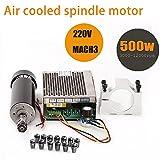 TopDirect 500W CNC Spindle Motor 0.5kw Air Cooled Milling Spindle Motor + 220V MACH3 Speed Power Converter + 52mm Clamp + 13pcs ER11 Collet for DIY Engraving