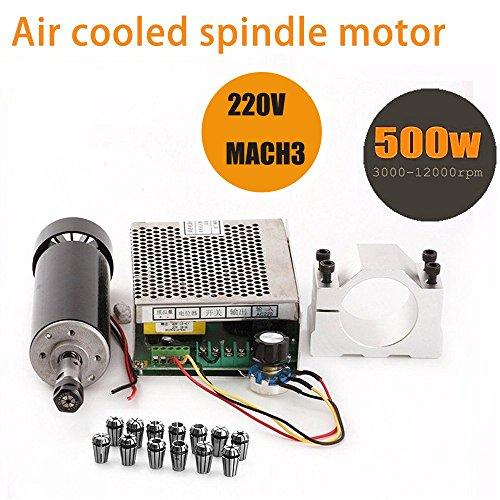 TopDirect 500W Luftgekühlten 0.5kw Mini Spindle Motor + 220V MACH3 Geschwindigkeit Power Converter + 52mm Clamp + 13pcs ER11 Collet für CNC Gravieren Maschine