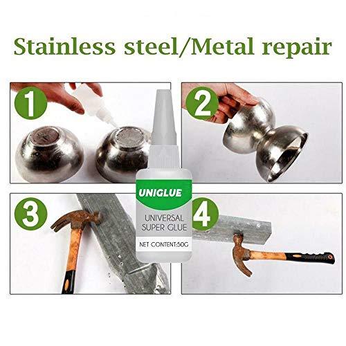 Súper pegamento de uso general, pegamento resistente al agua para vidrio de metal cerámico, pegamento súper adhesivo 30 ml 50 ml (2pc, 50ml)