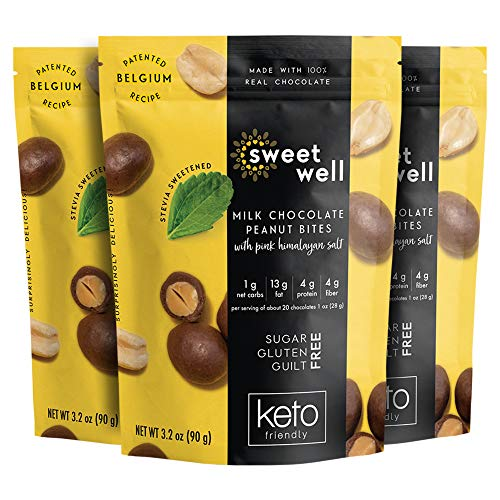 Sweetwell Keto Milk Chocolate Peanut Bites, Sugar-Free Chocolate Treats, Stevia-Sweetened Chocolate Snacks (3-Pack)