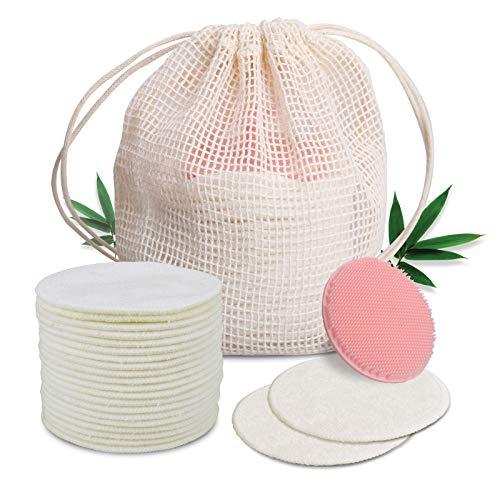 Lechin Abschminkpads Waschbar 20 Stück doppellagiges Make-up-Entferner-Pad aus Bambusfaser-Frottee zum Reinigen des Gesichts, wiederverwendbar und umweltfreundlich