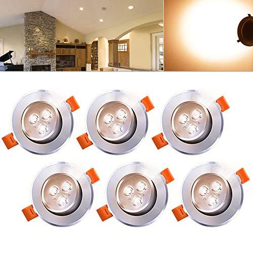Hengda® Einbaustrahler 6er pack 3W LED Warmweiß Deckenstrahler Spot Lampe Treppe Küchen Decke Einbau Spots Strahler mit Travo Einbauleuchten IP44