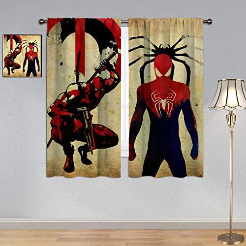 Trelemek S_Pider M_an & D_eadpool Curtains,Blackout Curtain Superhero Video Movie Curtain Curtains Rod Pocket Energy Efficient Thermal Insulated Blackout Curtain, W42 x L54