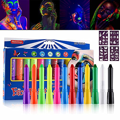 FANICEA 12 Colors Face Paint Crayons UV Glow in The Dark High Pigmented Non-Toxic Washable Cosplay Halloween Neon Face Body Painting Sticks Kit with 4 Pcs Tattoo Stencil for Kids and Adults