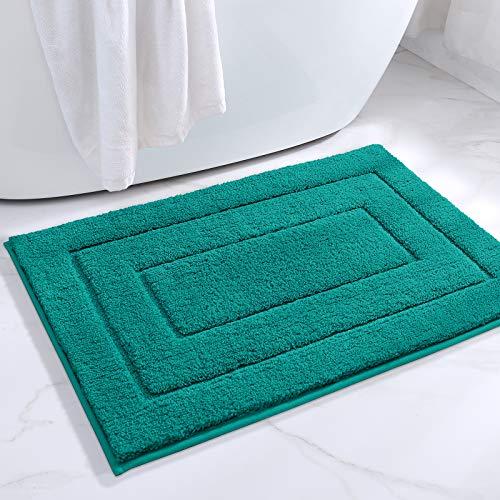 DEXI Badteppich rutschfeste,Weiche Badezimmerteppich Wasserabsorbierend Badematte maschinenwaschbar Badvorleger für Dusche,Badewanne und Toilette - Türkis,40 x 60 cm