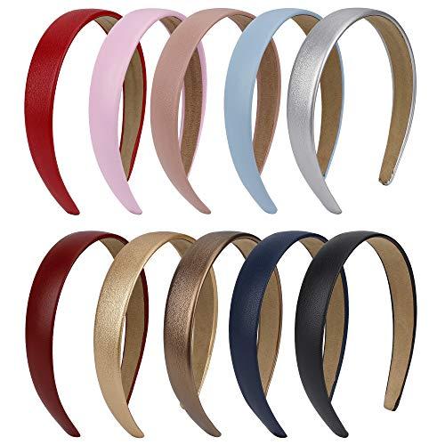 Haarreif Damen 10 Stk Vintage Rutschfeste PU-Leder Mehrfarbig Breit Haarband stirnband für Frauen Mädchen