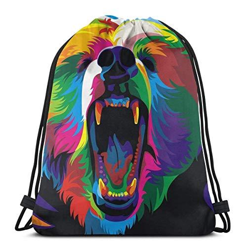 Not Applicable Bolsas De Cuerdas Gimnasio,Saco De Gimnasio Deporte,Mochila con Cordón,Animal Bear Athletic Pull String Bag para Viajar Escuela Compras Yoga