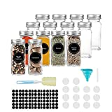 Glass Spice Jars, AIVIKI 14 PCS 4oz Empty Square Spice Bottles Containers with Shaker Lids and Airtight Metal Caps - 144 Spice Labels and Chalk Marker and Silicone Collapsible Funnel Sponge Brush