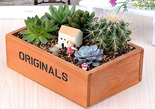 KOTiger Lit Plante à Fleur de Fines Herbes en Bois Boîte de Pot Pot de Jardin Paysage Décoration (Marron)