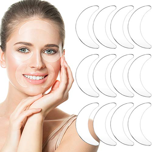 12 Pieces Reusable Silicone Eye Pads Overnight Anti Aging Silicone Pad for Mouth and Eyes Smile Fine Lines Prevent Skin Aging