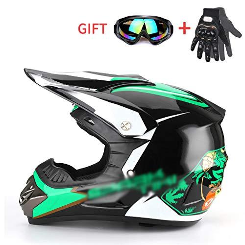 Helmen Kinder-Offroad-motorhelm, DOT-gecertificeerd met veiligheidsbril en handschoenen voor downhill man en vrouw, MX Quad-integraalhelm voor Dirt Bike ATV Motorcycle Motocross -LWAJ