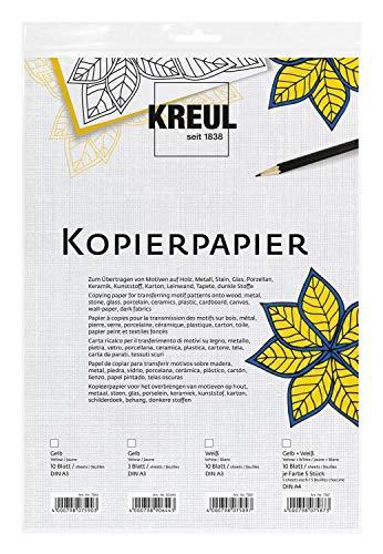 Kreul 7589 - Kopierpapier zum Übertragen von Motiven auf dunkle Untergrüne, 10 Blatt weiß, ca. 30 x 42 cm