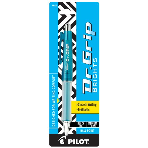 PILOT Dr. Grip Brights Refillable & Retractable Ballpoint Pen, Medium Point, Blue Barrel, Black Ink, Single Pen (36155)