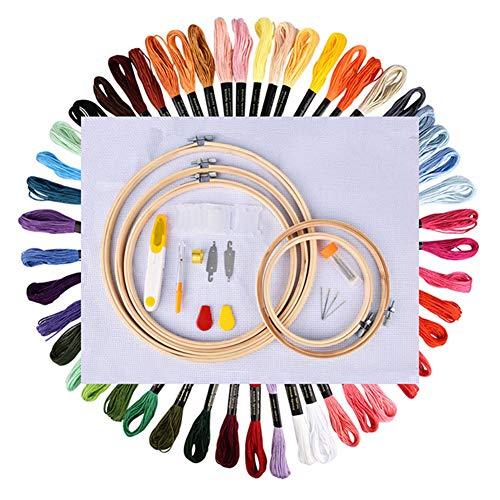 Avalita Juego de agujas de bordado hecho a mano de 50 colores para punto de cruz, kit de herramientas de material