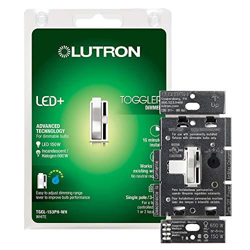 Lutron Toggler LED+ Dimmer Switch | 150-Watt, Single-Pole/3-Way | TGCL-153PH-WH | White
