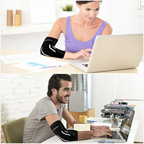 Compress Pro Medium Elbow Support Brace (1 Sleeve) - Compression Arm Splint for Tennis Elbow, Golfers Elbow, Weightlifting, Tendonitis, Sports/Fitness Injuries - Joint Relief Treatment for Men & Women