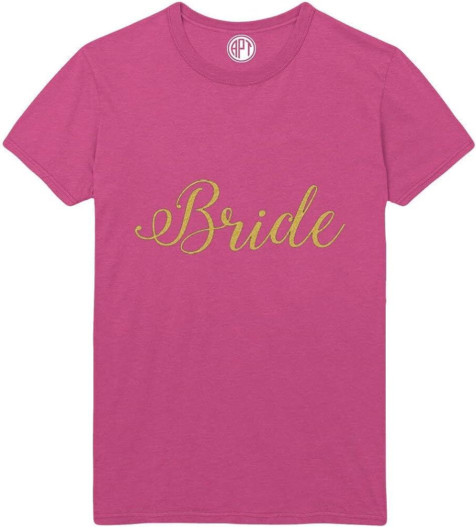 Bride in Gold Glitter Script Printed T-Shirt