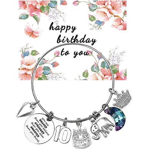 Birthday Gifts for Women Girl Bracelet 5th 6th 7th 8th 9th 10th 20th 30th 40th 50th 60th 70th 80th 90th Birthday Gift for Friend, Mom, Daughter, Wife, Grandma Jewelry Present (10th Birthday)
