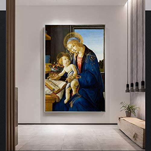 sin marcoSandro Botticelli-The Virgin and Child Canvas ngs on The Wall La Madonna del Libro Famosos ngs Reproducción Decoración 60x90cm