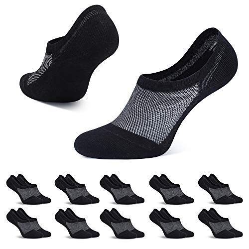 TUUHAW 10 Pairs of Trainer Socks for Men and Women, Footies, Breathable, Invisible Short Socks, Cotton, Non-Slip, Black, White, Grey - Black - 13-16