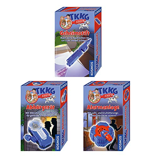 Kosmos 654535 TKKG Junior - Geheimstift, Detektivspielzeug, Detektiv Ausrüstung + TKKG Junior - Abhörgerät, Detektivspielzeug, Detektiv Ausrüstung + TKKG Junior - Alarmanlage, Detektivspielzeug