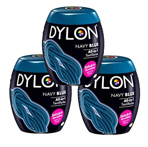 Dylon Navy Blue All-in-1 Textilfarbe (für frische und Intensive Farben) 3 x 350 g