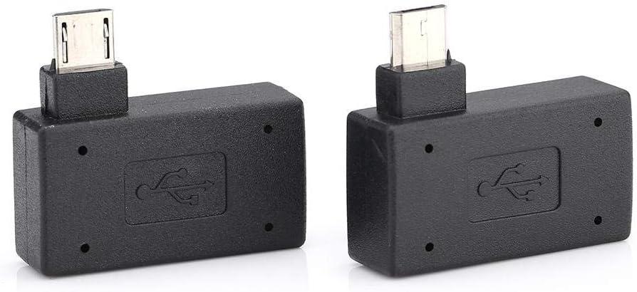 Socobeta 2Pcs Adaptador de Host USB 2.0 OTG de 90 Grados Hembra a Macho Puerto de Fuente de alimentación Micro OTG 90 Grados a la Izquierda 90 en ángulo Recto
