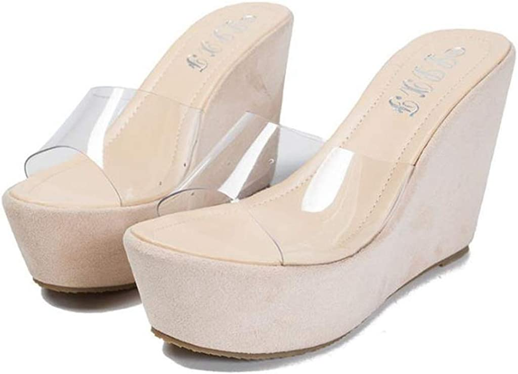 MIOKE Women's Clear Wedge Platform High Open Sandals Toe Sl Heel Spring new work one after another It is very popular