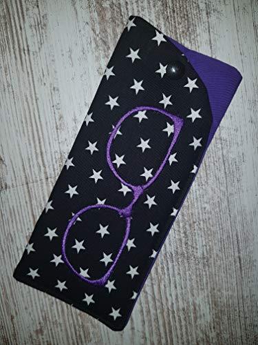 Brillenetui Barock schwarz lila für Zweitbrille, Sonnenbrille
