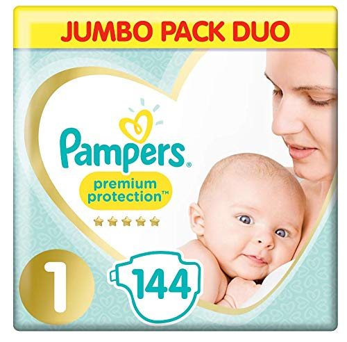Pampers Newborn/Size 1 (2-5 kg) Nappies, New Baby Sensitive Nappy, JUMBO PACK DUO, (72 x 2) 144 Count