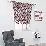 GugeABC Cortinas cortas de primavera, colorido ramo de pétalos de mariposa, vívido, inspirador dibujado a mano, cortina de ventana para el hogar, color rosa claro, salmón púrpura, 99 x 162 cm