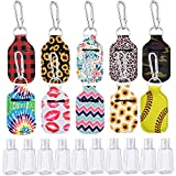 30 Pieces Hand Keychain Sanitizer Holders Sets, Include 10 Neoprene Keychains Holders, 10 Metal Buckle Keychains, 10 1Oz Resuable Empty Bottles for Liquids