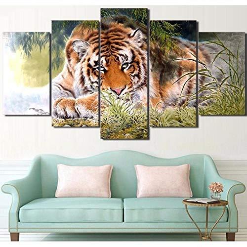 Pmhhc Decoratie van het huis, canvas, 5-delig, tijgerprints Hd Animal Wall Art modulaire foto's voor nachtkastje achtergrond vogels poster 10x15cmx2 10x20cmx2 10x25cm Met frame