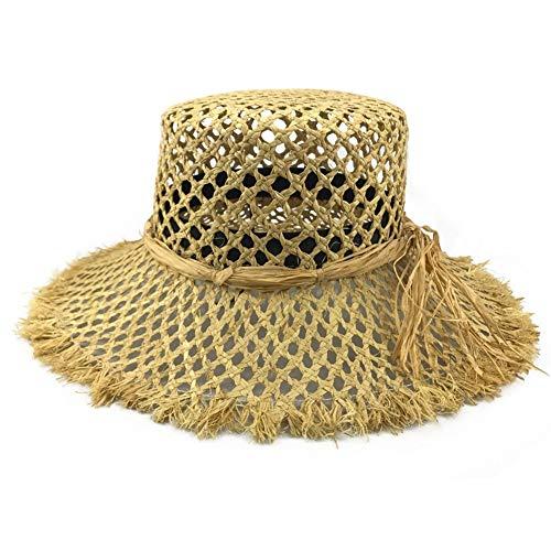 QQSA Hueco de la Manera Rafia Paja Sombrero de Sol Mujeres H