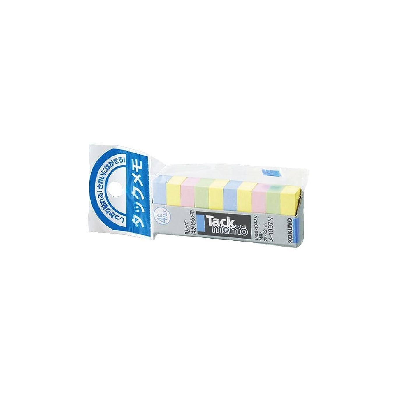 ジャンク推測メダリスト(まとめ買い) コクヨ タックメモ 付箋タイプ 25×7.2mm 4色 100枚×10本 メ-1097N 【×10】