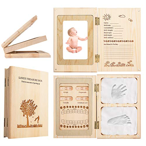 Baby Memory Box - Baby Tooth Box, Handprint Footprint Keepsake and Baby Photo Frame 3 in 1, Good Gift for Prospective Parents, Baby Keepsake Box for Boys and Grils
