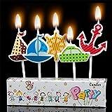 Party Candles Velas de tarta de cumpleaños - Náuticos barco ancla rueda