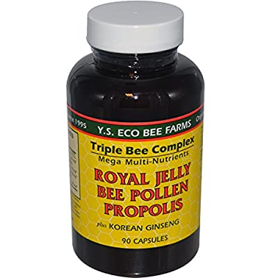 Triple Bee Complex Royal Jelly, Bee Pollen Propolis with Korean Ginseng (90 Capsules)