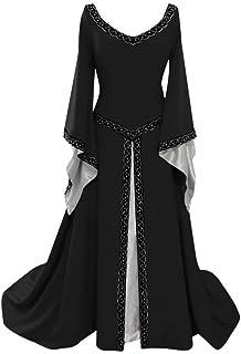 iHENGH Damen Frühling Sommer Rock Bequem Lässig Mode Kleider Frauen Röcke Langarm V-Ausschnitt Mittelalterlich Kleid Bodenlang Cosplay Kleid