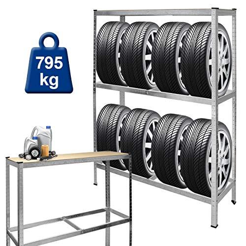 ECD Germany Reifenregal | 8 Reifen | 795 kg | 180 x 120 x 40 cm | aus vollverzinkter Stahl | höhenverstellbar | obere Ablage MDF | Reifenständer Lagerregal Schwerlastregal Steckregal Werkstattregal
