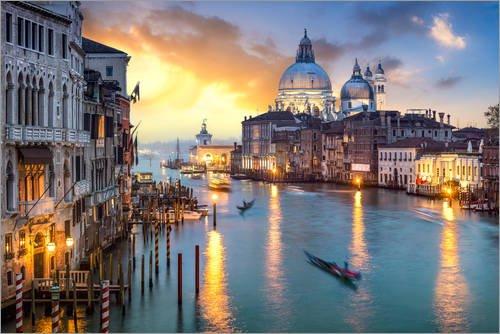 Posterlounge Acrylglasbild 90 x 60 cm: Canal Grande bei Sonnenuntergang in Venedig, Italien von Jan Christopher Becke - Wandbild, Acryl Glasbild, Druck auf Acryl Glas Bild