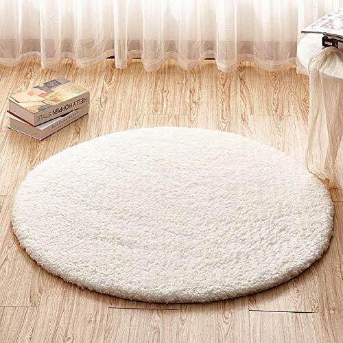 Cestbon Wohnzimmer Büro Fester Flockiger Runder Teppich Teppiche, Für Zu Hause, Büro Und Wohnzimmer,Weiß