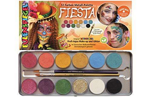 Eulenspiegel- Fiesta Paleta de Maquillaje, 11 1 Purpurina, Colores Veganos y Pincel carbón (212233)