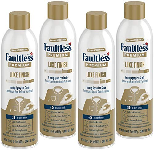 FAULTLESS Premium Spray Starch (20 Oz, 4 Pack) Spray Starch for Ironing That Makes Your Clothes New Again, Use as a Spray on Starch That Reduces Ironing Time with No Flaking, Sticking or Clogging
