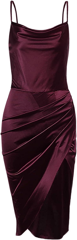 EZ Tuxedo Women's Evening Party Dress Solid V Neck Hollow Out Sleeveless Sheath Braces Skirt