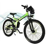 Hiriyt Faltbares E-Bike,36V 250W Elektrofahrräder, 8A Lithium Batterie Mountainbike,26 Zoll Große Kapazität Pedelec mit Lithium-Akku und Ladegerät (Green)