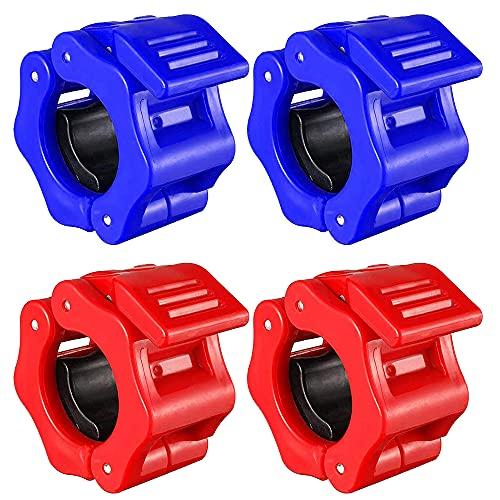 CJBIN Morsetti per bilanciere da 30 mm, 4 chiusure per bilanciere, per allenamento Pro (blu e rosso)